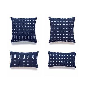 Hofdeco Throw Lumbar Cushion Cover African Mudcloth Inspired Cotton Indigo Navy