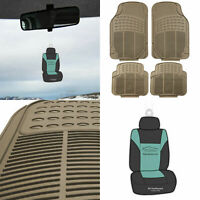 Car Floor Mats All Weather Rubber For Auto Car 4pcs Beige set w/ Free Gift