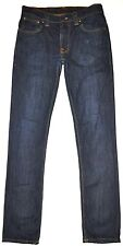 Nudie Men's Thin Fin Dark Blue Skinny Jeans Organic Cotton Dry Ecru Embo 31X31