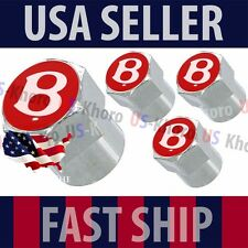 Bentley B Red Logo Valves Stems Caps Covers Chrome Wheel Roundel Tire Emblem USA