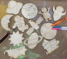 Wood Cutout Shapes Unfinished Space Kids Crafts Paint Party Alien Astronaut DIY