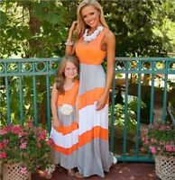 UK Mother And Daughter Sleeveless Anchor Ladies Girls Holiday Casual Boho Dress