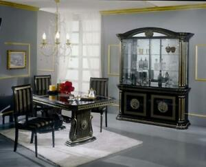 VERSACE STYLE ITALIAN HIGH GLOSS DINING EXTENDING TABLE WITH 6 CHAIRS