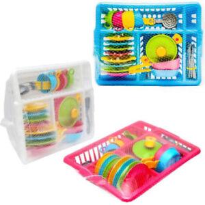 Children's Kids Play Kitchen Cooking Plates Cutlery Toy Tea Set
