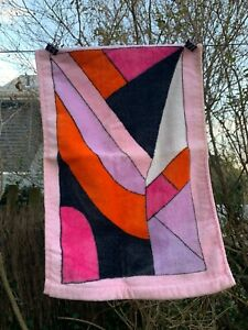 1***1960's Vtg. Emilio Pucci Finger Towel Geometric Pattern Cotton NEVER USED**