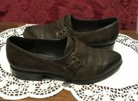 NINE WEST BROWN LEATHER  LOW HEEL SLIP ON BUCKLE  STRAP LOAFERS  SHOES 7M (7a)