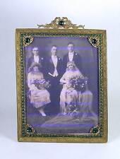 Antique Jeweled Rhinestone Brass Filigree Picture Photo Frame Ribbon Bow E & J B