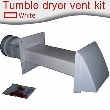 Rectangular rigid through wall tumble dryer vent kit with cowl in white.110 x 54