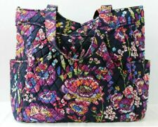 Vera Bradley Pleated Tote Midnight Wildflowers