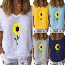 UK Women T Shirt Tops V Neck Blouse Summer Short Sleeve Casual Loose Baggy Print