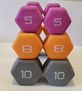 ⚡️5lb 8lb 10lb CAP Neoprene Coated Hex Dumbbell Pair Select Weight - FAST SHIP⚡