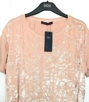 Ladies Top Tshirt M&S Pink Velvet Front Marl Back Stretch 18 BNWT Marks Women