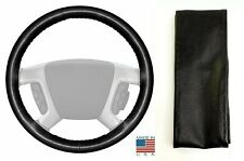 Black Genuine Leather Steering Wheel Cover Size C For Ford Chevy & Other Makes