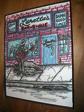 -Blues Bar-B-Que- Loretta's Framed Art Print -Guitar Electric Blues Man