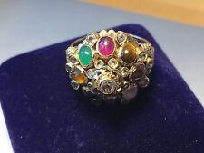 ANTIQUE VINTAGE 1960'S 14K GOLD THAI SIAM PRINCESS HAREM MULTI GEMSTONE RING 7.5