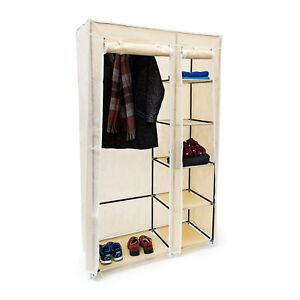 1 x Faltschrank XL Stoffkleiderschrank Kleiderschrank Textil Kleiderstange beige