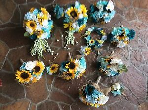 Sunflower wedding flowers package bridal bouquet decorations 9 bouquets