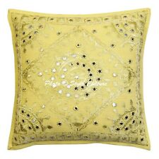 Indian Cotton Throw Pillow Cover Yellow 16 Inch Embroidered Mirror Cushion Cover