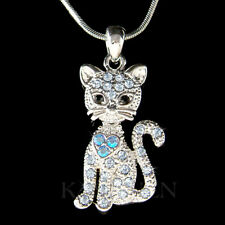 Blue Kitty Cat Kitten movable made with Swarovski Crystal Charm Necklace Jewelry