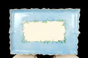 "VIENNA AUSTRIA PORCELAIN PASTEL BLUE FLORAL GOLD 12 1/4"" DRESSER TRAY 1891-1914"