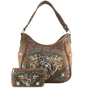 Justin West Wild Horse Embroidery Western Floral Concealed Carry Handbag Purse