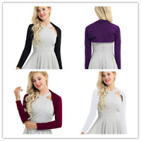 Women Long Sleeve Shrug Bolero Short Jacket Cardigan Blouse Top Sweater Crop Top