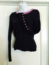 SLEEPING ON SNOW ANTHROPOLOGIE Speckled LambsWool  Button Sleeve Sweater S  B5