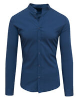 Camicia uomo Diamond coreana slim fit casual in cotone blu nero tag S M L XL XXL