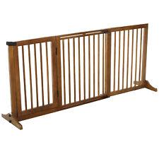 Retractable Pet Gate Wooden Panels Fence Doorway Indoor Barrier Adjustable Brown