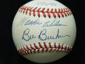 Mookie Wilson Bill Buckner 1986 World Series autographed 1986 WS baseball