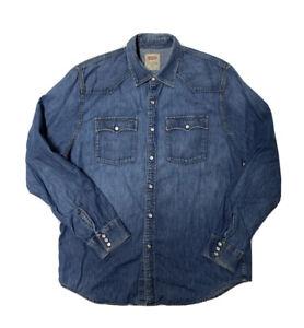 Levi's Jean Shirt Mens Large Blue Denim Western Pearl Snap LS