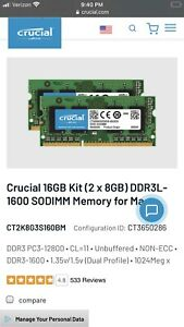 Timetec 16GB KIT(2x8GB) Compatible for Apple DDR3 1333MHz PC3-10600 CL9
