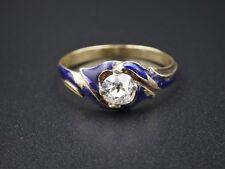 Antique Victorian 14k Yellow Gold Diamond Russian Blue Enamel Ring Sz 7.25 CO206