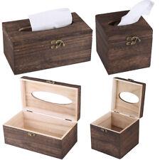 Wood Tissue Box Cover Square Paper Holder for Office Bathroom Bedroom Desk Decor