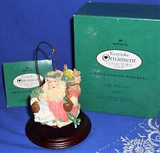 Hallmark Limited Edition Club Ornament Jolly Holly Santa 1994 Display Stand Used