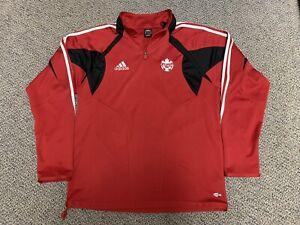 2004 2005 Canada Soccer Jacket Adidas Red Track Training Warm Up Large L Black