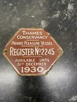 Brown 1930 Thames Conservancy Boat Plate