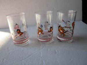 South Korea 1980's Olympic Games Hodori Tiger OB Beer Set of 3 Glasses