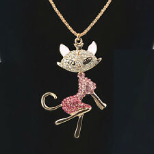 Cat Lady Sweater Necklace Rhinestone Crystal Pendant Long Chain Jewellery Gift