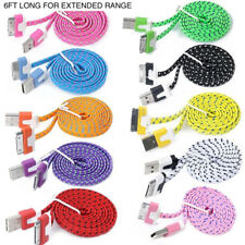 6FT 2M FLAT BRAIDED Fabric Data Sync Charger Cable FOR iPhone 3g 4s 4 iPod touch