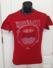 Quiksilver Surfing Skateboard Beach Logo Red T-Shirt Small Slim Fit Retro Rare