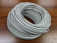 (10 ft) 2-Wire Twisted Cloth Covered Wire Antique Lamp Fan Cord Silk Gray White