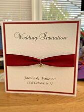10 Wedding Invites - Love Heart Silver Charm - Claret - Romantic Collection