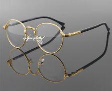 Retro Oval Gold Man Women Metal Eyeglasses Frames Plain Glass Spectacles Vintage