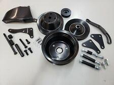 SB Chevy SBC Black Steel Long Water Pump Pulley Kit W/ Brackets 327 350 400 V8