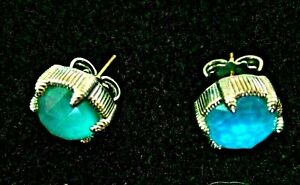Judith Ripka Sterling Silver & 18K Turquoise Doublet Pierced Stud Earrings G-Box
