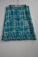 Ora Kiely Geometric Houses Blue & Cream Silk Skirt Pleated Trim - UK 14/US 10