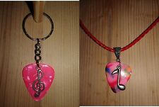 Keychain/Necklace Combo- Multi & Pink Picks / Music&Clef Note Charms / Red Cord
