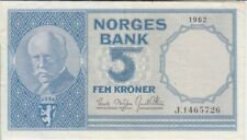 Norway banknote P30b-5726 5 Kroner 1962 pfx J, VF   We Combine