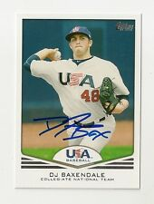 2011 TOPPS USA BASEBALL DJ BAXENDALE AUTOGRAPH CARD #USA-2 SIGNED IN PERSON